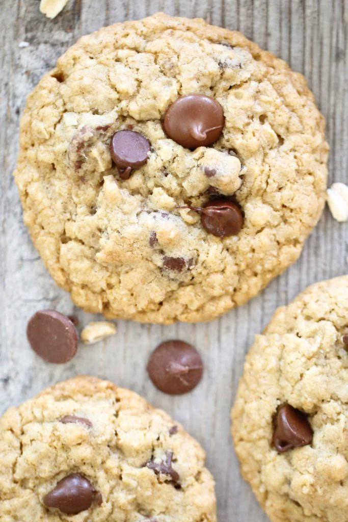 Chewy Choc~Oat~Chip Cookies on picnic table