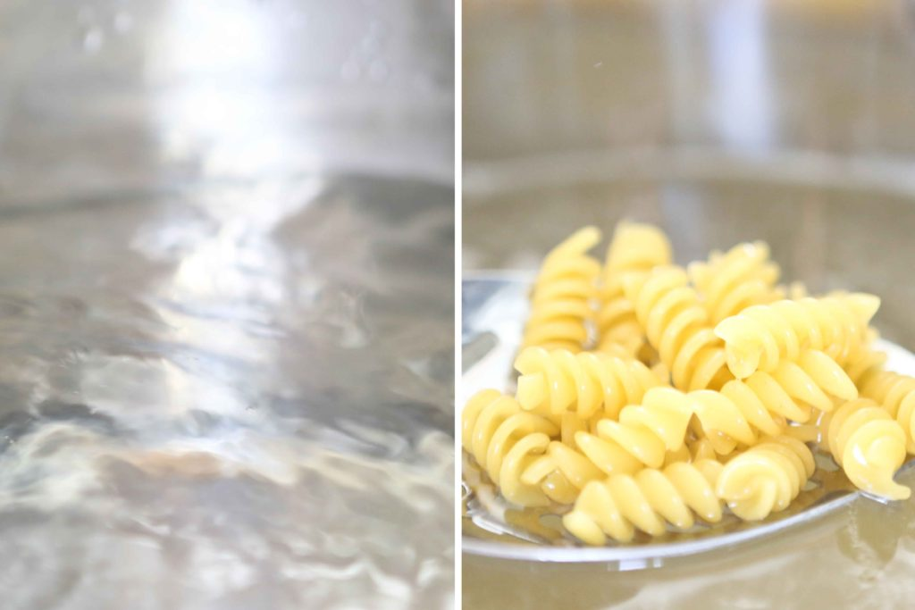 Rotini pasta cooking in boiling water for Taco Pasta Salad