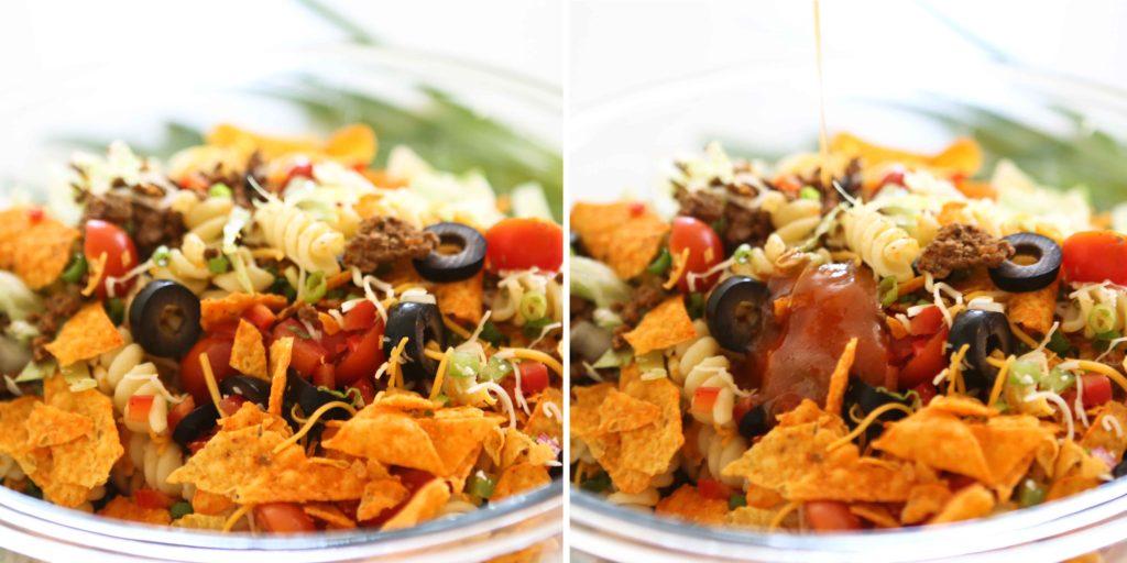 adding salad dressing to Taco Pasta Salad