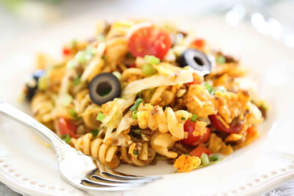 a serving of Taco Pasta Salad on a plate