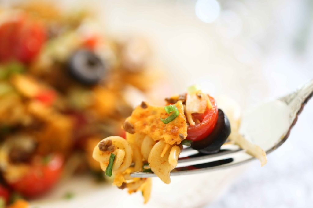 a fork-full of Taco Pasta Salad