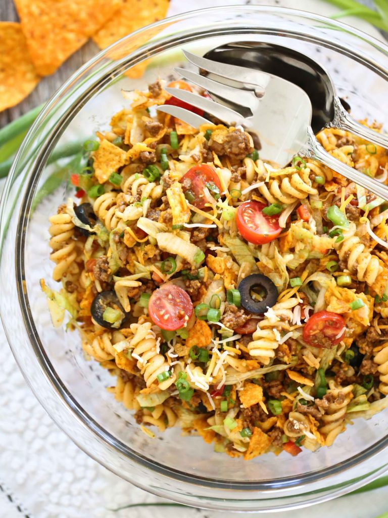 overhead view of a large bowl of Taco Pasta Salad