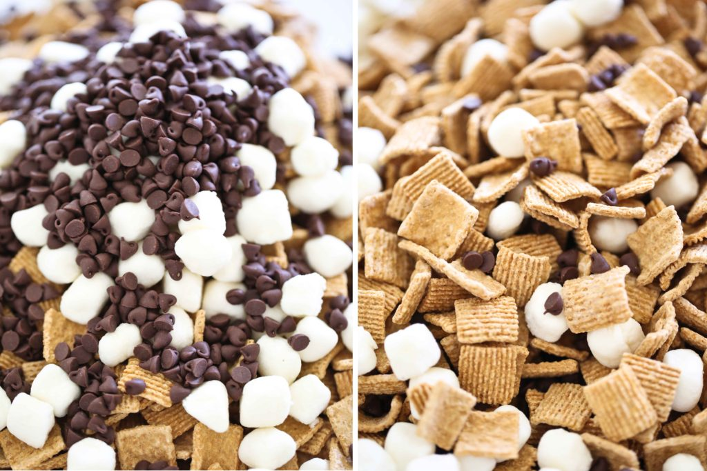 cereal, marshmallows, and chocolate for making Indoor S'more Bars