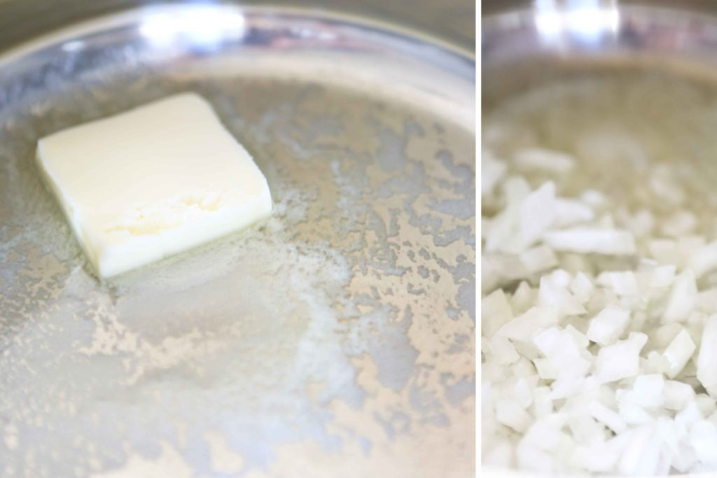 cooking onions in melted butter to make Cilantro-Lime Rice