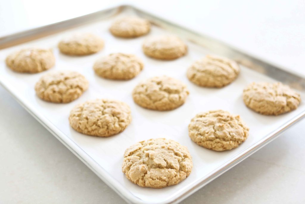 Yummy Oatmeal Cookies on cookie sheet