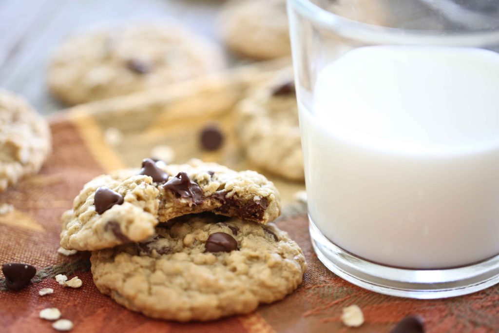 Chewy Oatmeal Chocolate Chip Cookies with milk