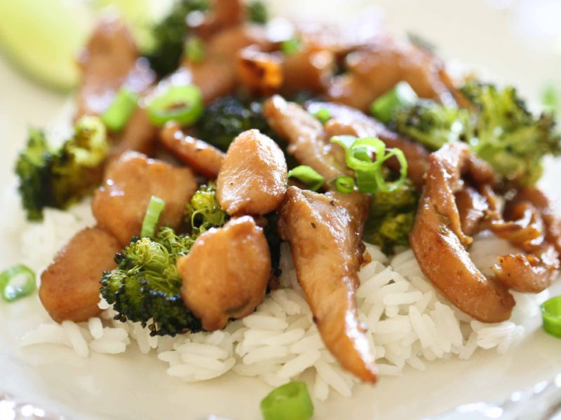 Satay Chicken with Peanut Sauce and Roasted Broccoli