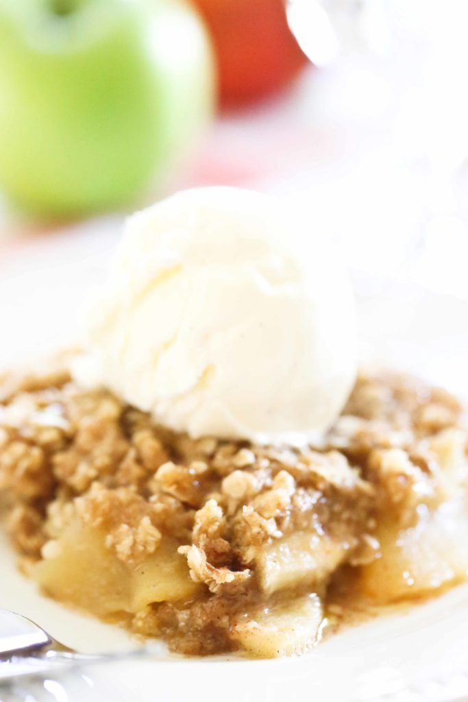 Homemade Apple Crisp with vanilla ice creamh Van