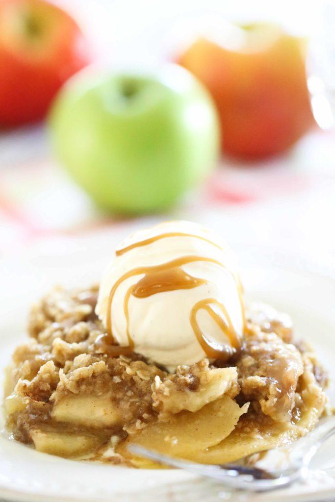 Apple Crisp with vanilla ice cream and caramel sauce