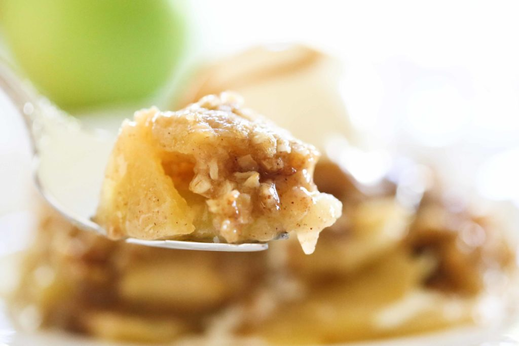 Homemade Apple Crisp on a fork