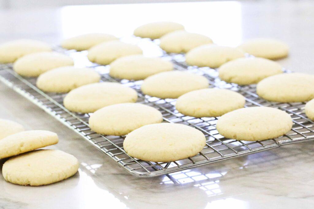 Lemon cookies on wire rack
