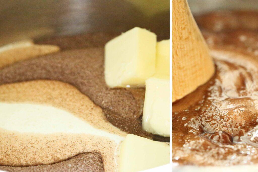Fudge ingredients in pot