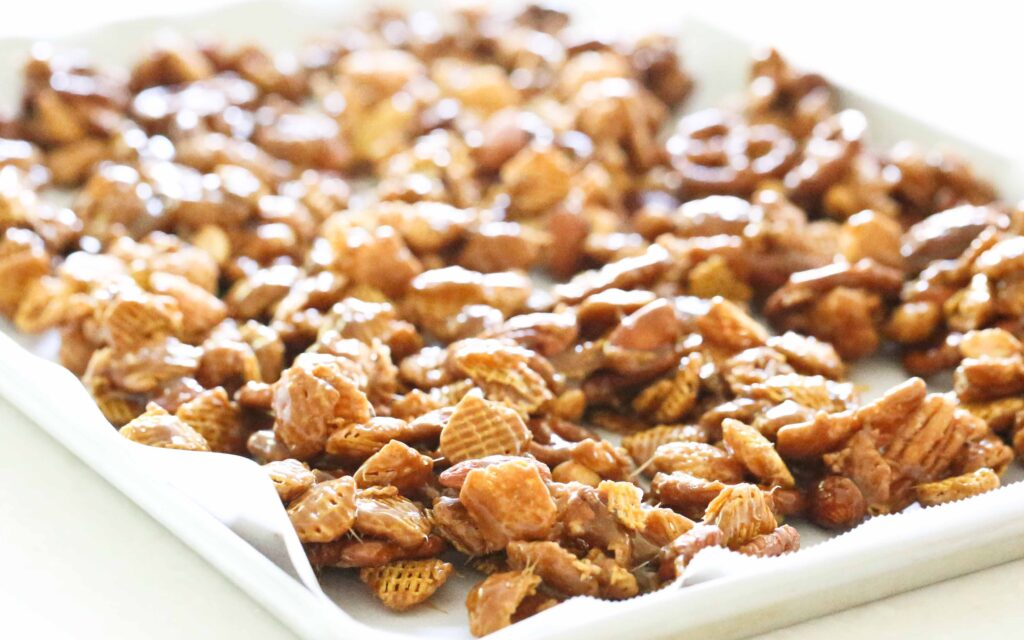 baking sheet of Nutty Caramel Chex Mix