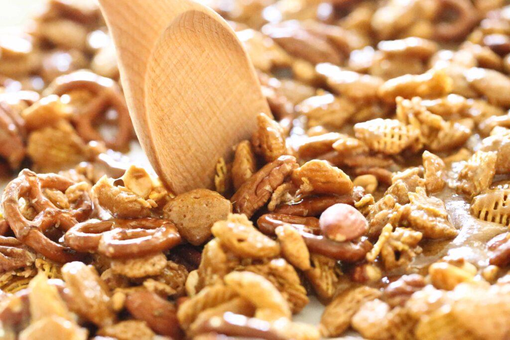 Stirring Nutty Caramel Chex Mix