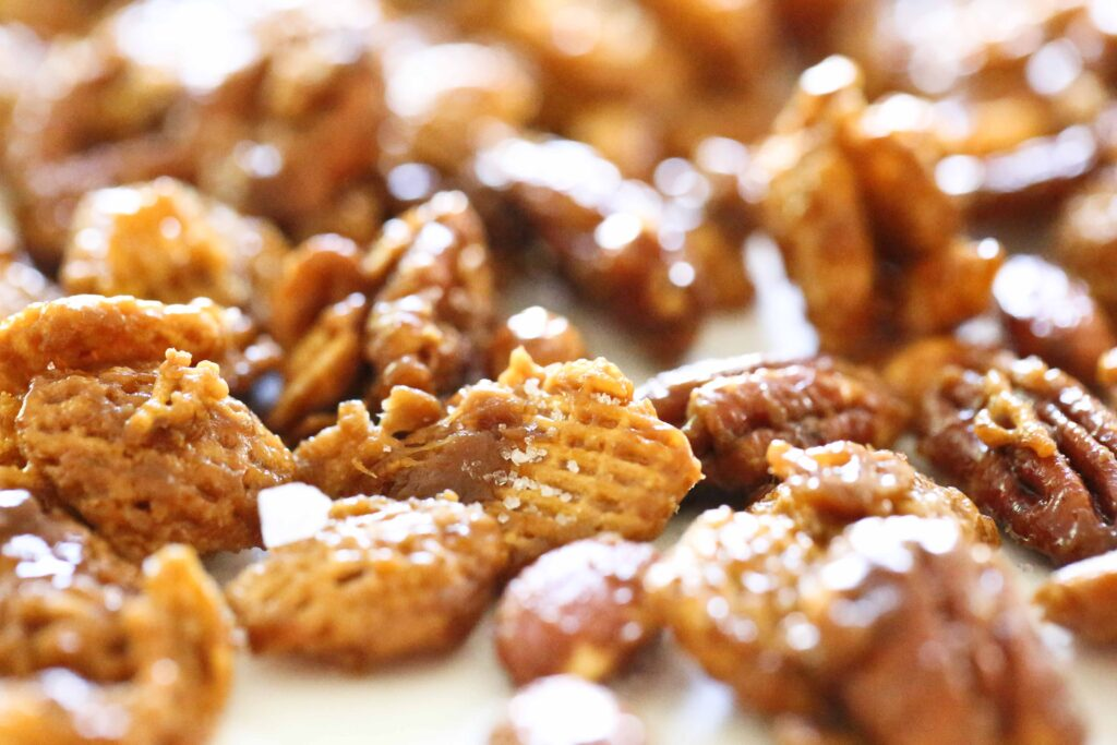 Nutty Caramel Chex Mix with sea salt