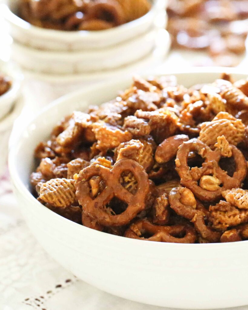 Bowls of Nutty Caramel Chex Mix