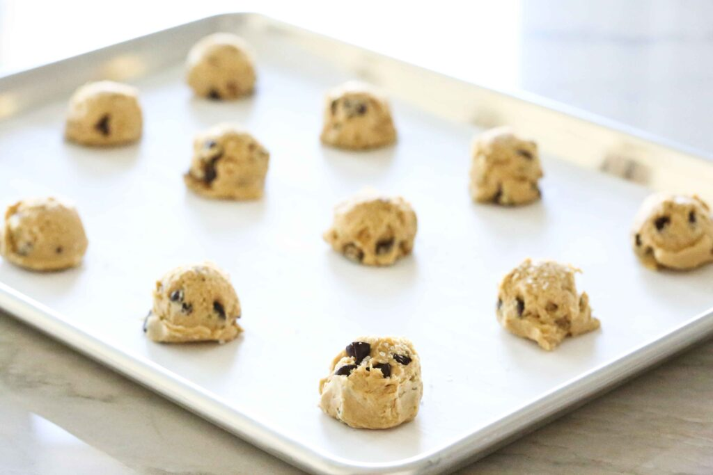 Chocolate Chips Salted Caramel Cookie dough balls