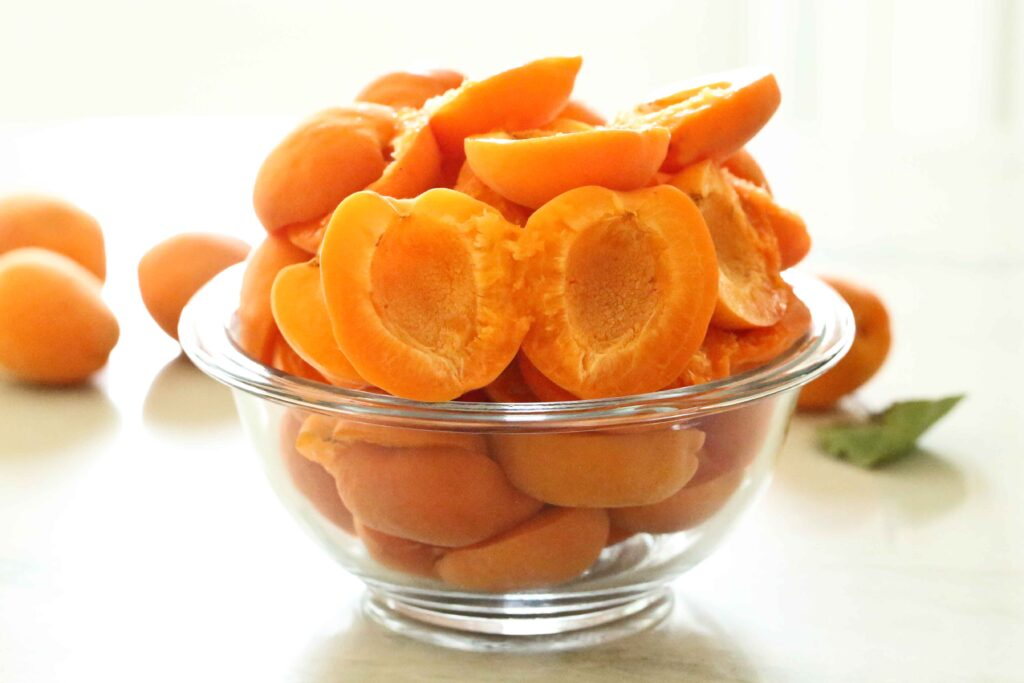 Fresh pitted apricots