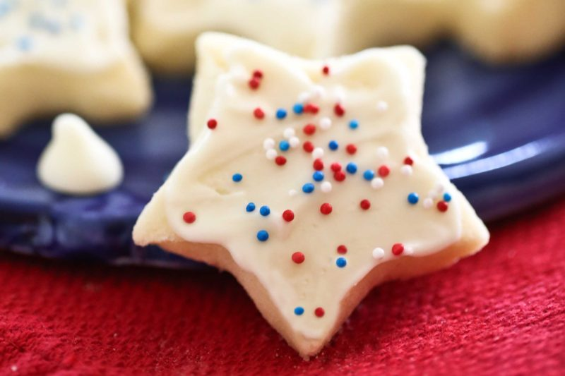 Shortbread Cookie Stars with White Chocolate and sprinkles