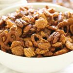 Bowl of Nutty Caramel Chex Mix